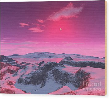 A Hypothetical Planet Orbiting A Red Wood Print by Ron Miller