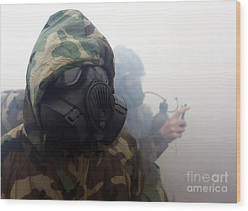 A Marine Wearing A Gas Mask Wood Print by Stocktrek Images