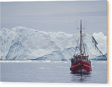 A Midnight Cruise Around The Ilulissat Wood Print by Axiom Photographic