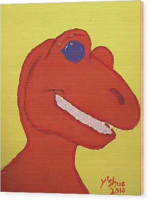 Wood Print featuring the painting A Saurus Wrex by Yshua The Painter