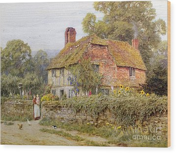 A Surrey Cottage Wood Print by Helen Allingham