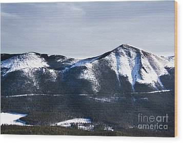 A View Of Snowy Mountains From Pikes Peak Wood Print by Ellie Teramoto