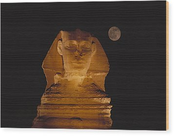 A View Of The Great Sphinx At Night Wood Print by Bill Ellzey