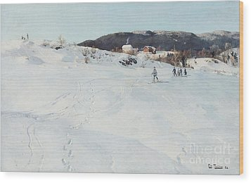 A Winter's Day In Norway Wood Print by Fritz Thaulow