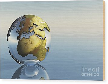A World Globe Showing The Continents Wood Print by Corey Ford