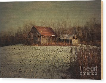 Abandoned Barn After The First Snow Wood Print by Sandra Cunningham