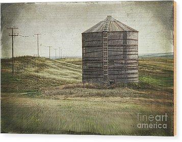 Abandoned Wood Grain Storage Bin In Saskatchewan Wood Print by Sandra Cunningham