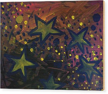 Wood Print featuring the painting Abstract Stars by Monica Furlow