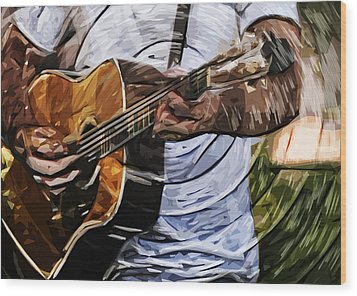 Acoustic Blues Wood Print by Tilly Williams
