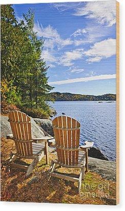 Adirondack Chairs At Lake Shore Wood Print by Elena Elisseeva