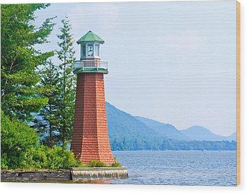 Adirondack Lighthouse Wood Print by Ann Murphy