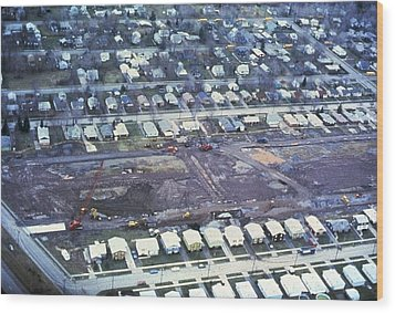 Aerial View Of Clean Up Operations Wood Print by Everett