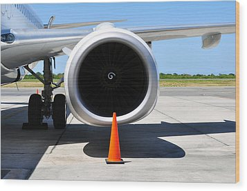 Air Transportation. Jet Engine Detail. Wood Print by Fernando Barozza