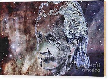 Wood Print featuring the painting Albert Einstein by Elinor Mavor