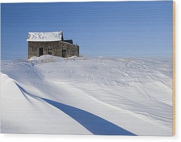 Alberta, Canada Abandoned Farm Building Wood Print by Philippe Widling