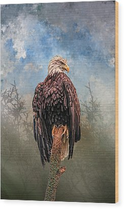 Wood Print featuring the digital art American Bald Eagle by Mary Almond