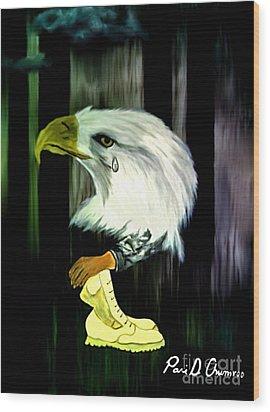 American Eagle Cries Wood Print by Ayasha Loya