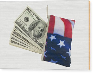 American Flag Wallet With 100 Dollar Bills Wood Print by Blink Images