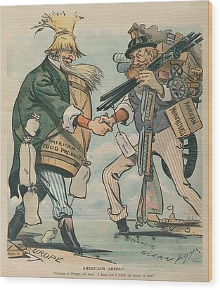 Americans Abroad. Cartoon Captioned Wood Print by Everett
