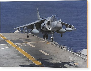 An Av-8b Harrier Jet Lands Wood Print by Stocktrek Images
