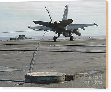 An Fa-18c Hornet Makes An Arrested Wood Print by Stocktrek Images