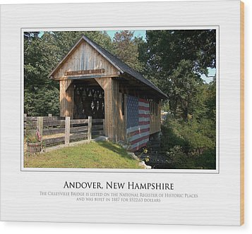Andover Nh Historical Bridge Wood Print by Jim McDonald Photography