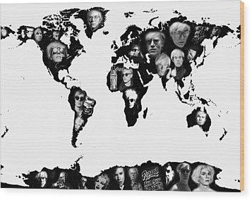 Andy Warhol World Map Wood Print by Stephen Walker