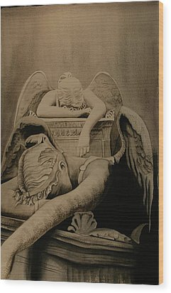 Wood Print featuring the painting Angel Of Grief  by Teresa Beyer