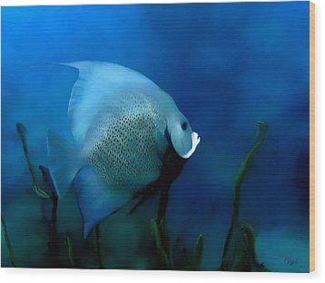 Wood Print featuring the digital art Angelfish by John Pangia