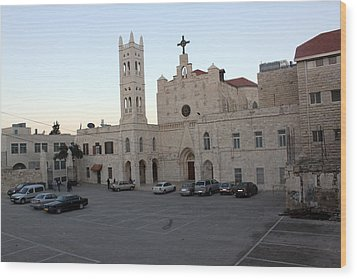 Annunciation Latin Church In Beit Jala Wood Print by Munir Alawi