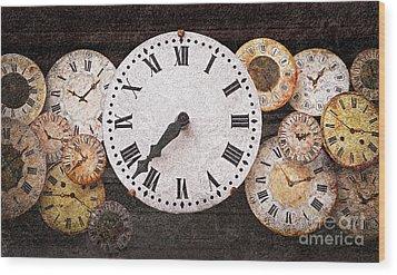 Antique Clocks Wood Print by Elena Elisseeva