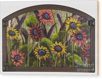 Arched Sunflowers With Gold Leaf By Vic Mastis Wood Print by Vic  Mastis