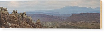 Wood Print featuring the photograph Arches National Park Large Panorama by Mike Irwin