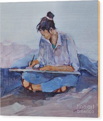 Artist In Pink And Blue Wood Print