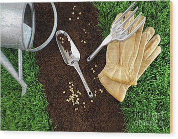 Assortment Of Garden Tools On Earth Wood Print by Sandra Cunningham