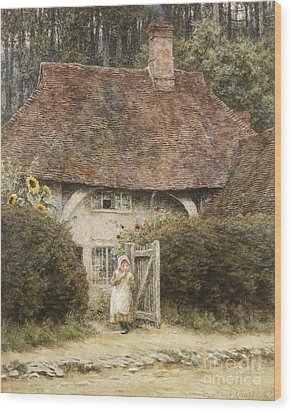 At The Cottage Gate Wood Print by Helen Allingham