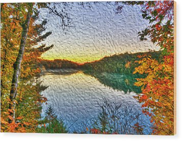 At The Lake Wood Print by Andre Faubert