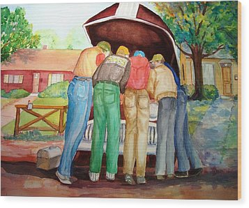 Wood Print featuring the painting Backyard Mechanics by AnnE Dentler