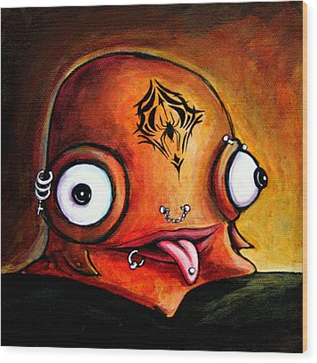 Bad Boy Glob Wood Print by Leanne Wilkes