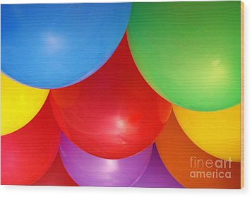 Balloons Background Wood Print by Carlos Caetano