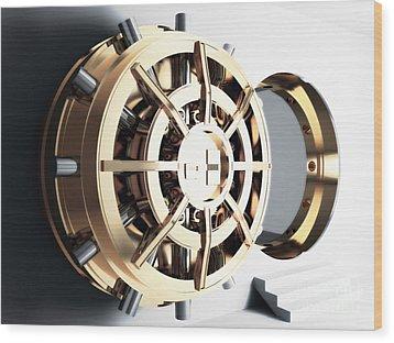 Bank Vault Door 3d Wood Print by Gualtiero Boffi