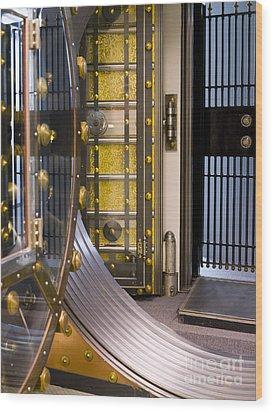 Bank Vault Doors Wood Print by Adam Crowley
