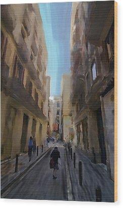 Barcelona Street Scene Wood Print by Sven Brogren