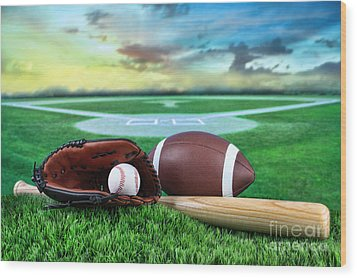 Baseball  Bat  And Mitt In Field At Sunset Wood Print by Sandra Cunningham
