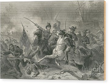 Battle Of Shiloh, Charge Of General Wood Print by Photo Researchers