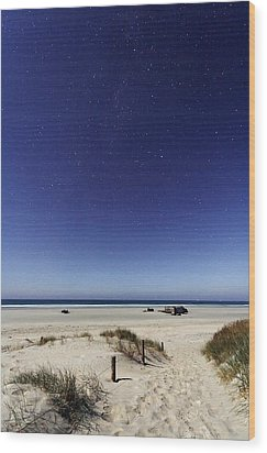 Beach Under A Full Moon Wood Print by Laurent Laveder