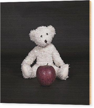 Bear And Apple Wood Print by Joana Kruse