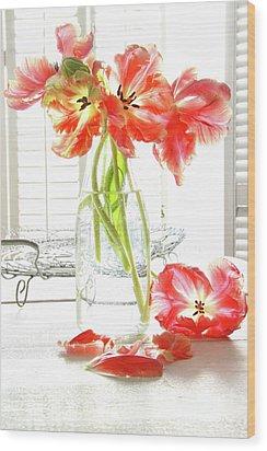 Beautiful Tulips In Old Milk Bottle  Wood Print by Sandra Cunningham