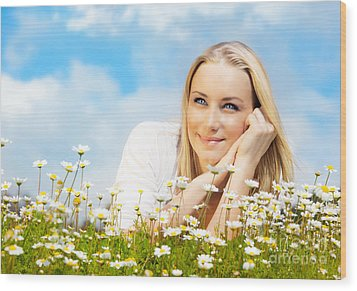 Beautiful Woman Enjoying Daisy Field And Blue Sky Wood Print by Anna Om