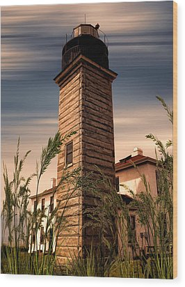 Beavertail Lighthouse Wood Print by Lourry Legarde